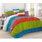 7 Piece CELENE colorful stripe ruffled Comforter Set- Queen King Cal.king Size…