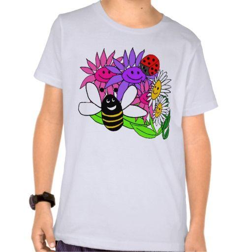 whimsical flowers kids apparel tees