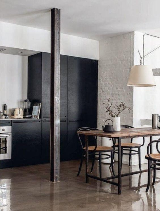 Schwarze küchen, gestrichene ziegelwände and küchenschränke on ...