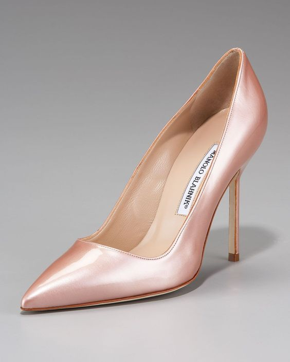 "BB"" pumps in metallic pink with 4"" heel & closed pointed toe from ..."