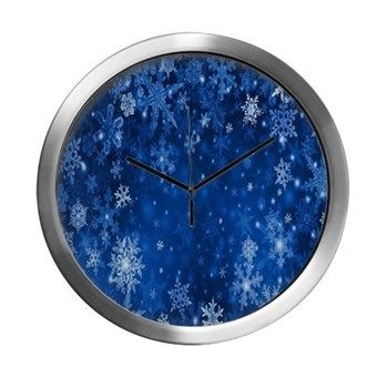 Snowflakes_Background_Texture Modern Wall Clock