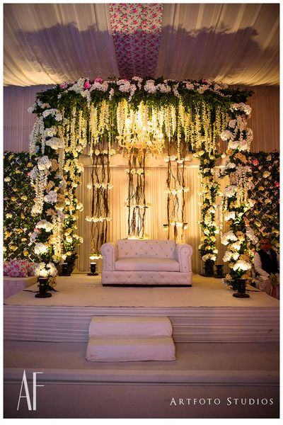 Elegant stage decor stage decor with ferns green and for Indoor stage decoration
