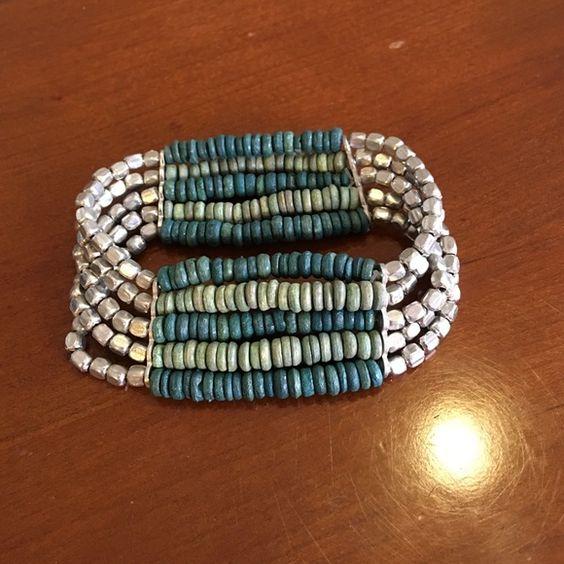BRACELET  blue/green and silver beaded bracelet. Stretchy.  Jewelry Bracelets