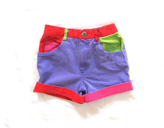 vintage 1990s shorts // children girl // color block // bright colors // purple // size 5