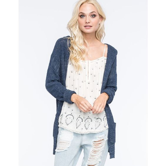 Full Tilt Essential Womens Hooded Cardigan ($25) ❤ liked on Polyvore featuring tops, cardigans, blue, lightweight open front cardigan, full tilt tops, white cardigan, hooded top and lightweight cardigan