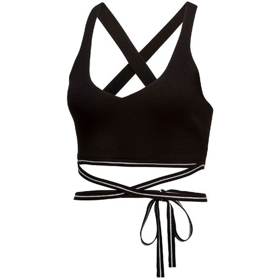 Fenty Puma By Rihanna Ribbed Cross-Back Sports Bra ($100) ❤ liked on Polyvore featuring activewear, sports bras, cotton black, sweater pullover, puma sports bra, cross back sports bra, v neck sports bra and v-neck pullover