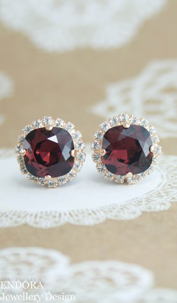 Burgundy earrings | Burgundy wedding | Marsala wedding | raisin wedding | cranberry wedding | Swarovski burgundy | www.endorajewellery.etsy.com: