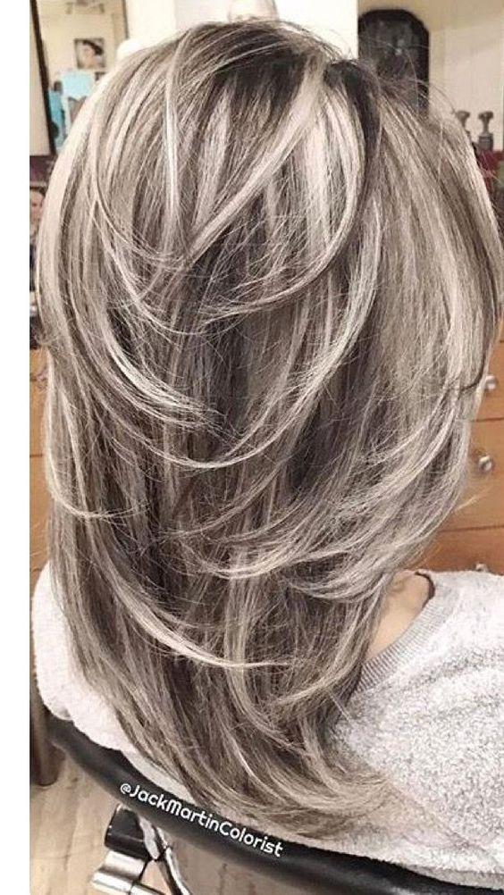 Graceful Medium Length Layered Haircut On Dark To Blonde Hair White Hair Color Hair Styles Long Hair Styles