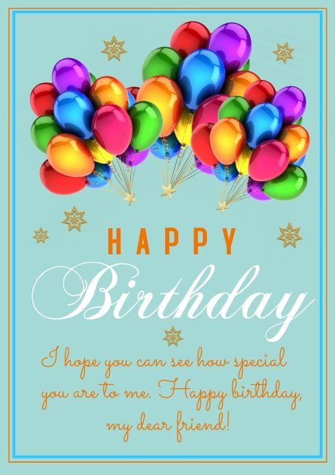 Flyer Template Happy Birthday In 2021 Birthday Card Maker Birthday Poster Birthday Wishes