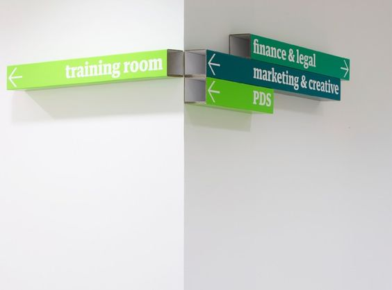 the guardian newspaper wayfinding. colourful folded cardboard is flexible for future changes