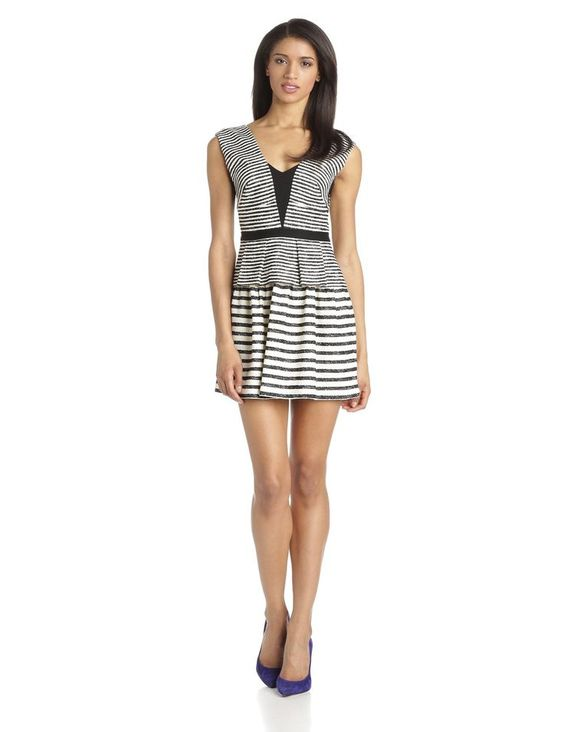 Womens Piper Striped V-Neck Dress with Peplum is on sale now for - 25 % ! is on sale now for - 25 % !