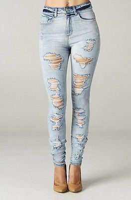 Details about High Rise Skinny Jeans Ripped Destroyed Women Light ...