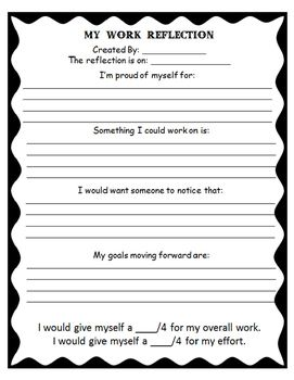 My Work Reflection A Student Self Evaluation Form Student Self