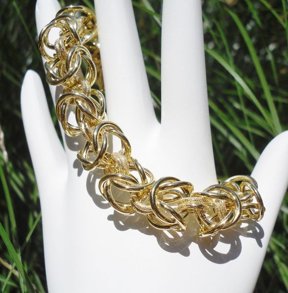 ITALY 24k YELLOW GOLD over 925 STERLING SILVER  BYZANTINE CHAIN BRACELET TOGGLE #AuthenticItalianCraftsmanship #Chain