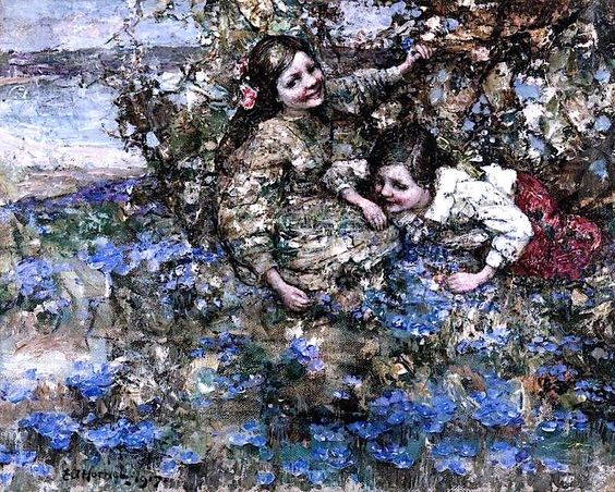 The Athenaeum - Blue Flax (Edward Atkinson Hornel - ):