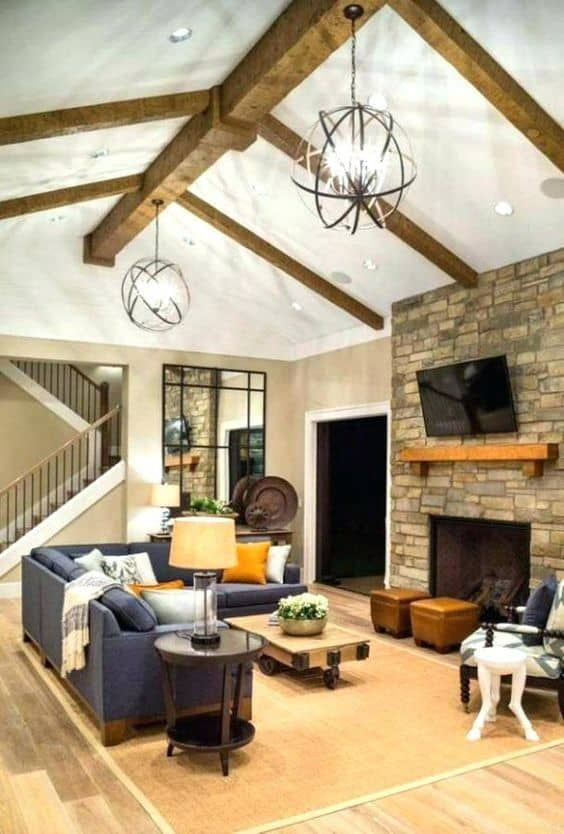 25 Unique And Astoundingly Beautiful Basement Ceiling Ideas Vaulted Ceiling Lighting Rustic Family Room Living Room Lighting