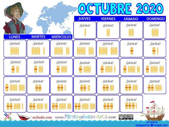 Calendario palillos infantil ABN – Octubre 2020