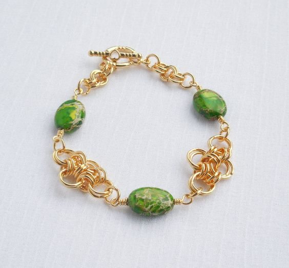 Green imperial jasper and gold chainmaille bracelet by ParkhillDesigns on Etsy