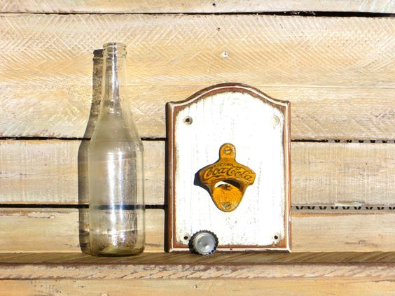 Country Kitchen Decor, Wall Bottle Opener Yellow Opener Distressed White Wooden Wall Mounted Beer Soda Bottle Opener, Reclaimed Wood by DesertGrain on Etsy