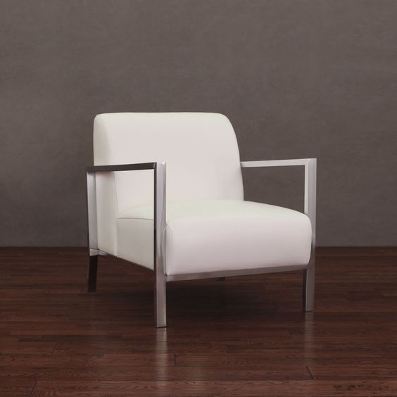 Modena Modern White Leather Accent Chair Ivory Cream