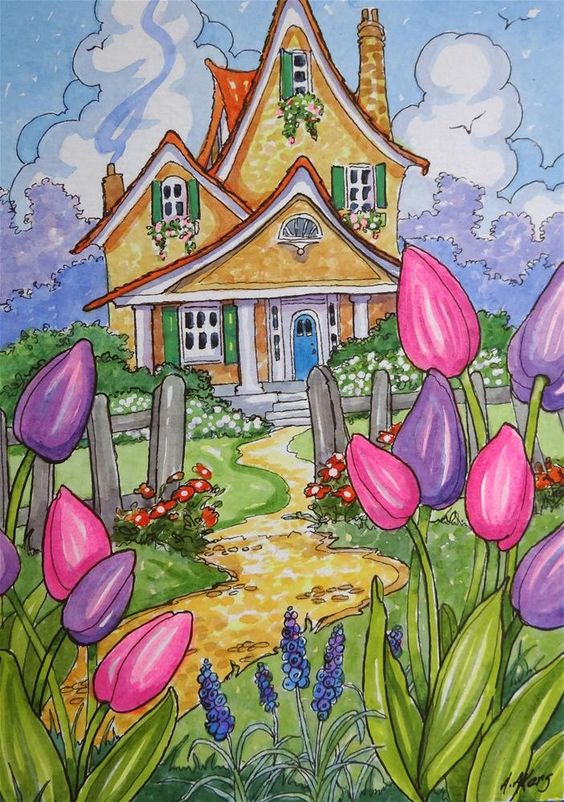 """Tis Tulip Time Little Storybook Cottage Series"" original fine art by Alida Akers:"