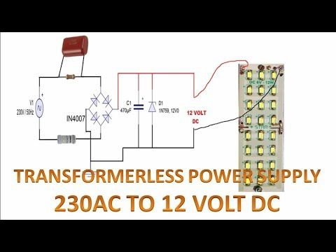 Transformerless Power Supply 230 Volt Ac To 12 Volt Dc Full Explained Power Supply Circuit Power Power Supply