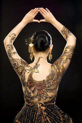 paisley and peacock body art #Tattoos