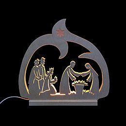 Schwibbogen  -  LED - Leuchter Krippe   -  30x28,5x4,5cm