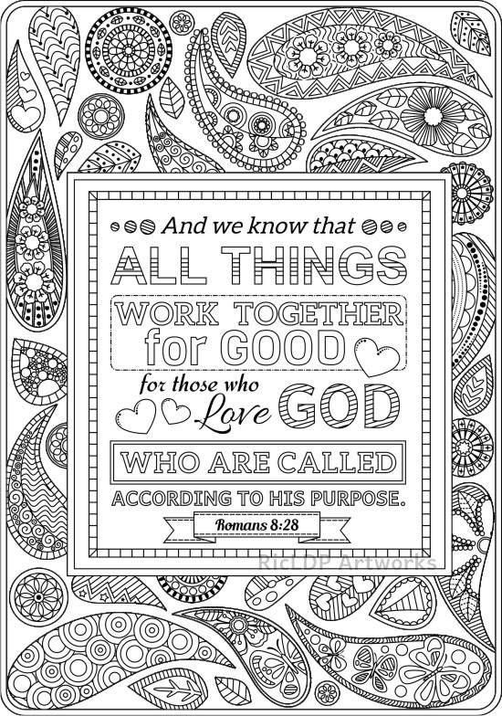 Set Of 2 Bible Coloring Pages Romans 8 28 And Romans 2 12 Scripture Coloring Bible Coloring Bible Coloring Pages