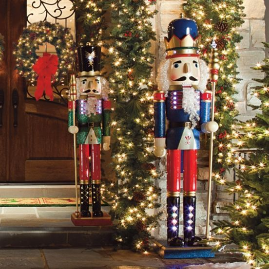 Lighted nutcrackers frontgate christmas outdoor for Airblown nutcracker holiday lawn decoration