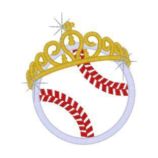 Free princess crown Cross Stitch Patterns  | Softball (5) Baseball/Softball Princess Crown Applique 4x4