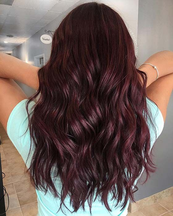 43 Burgundy Hair Color Ideas And Styles For 2019 Page 4 Of 4 Stayglam Wine Hair Burgundy Hair Wine Hair Color