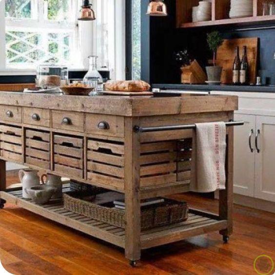 Isla para la cocina de madera maciza Ideas de decoracion