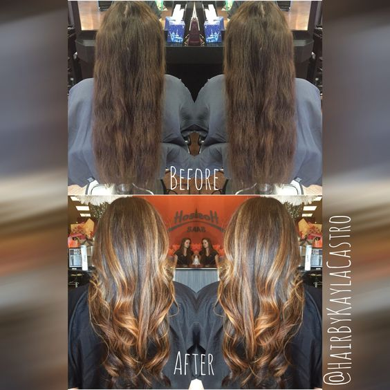 Beautiful before and after on my client I love the freedom of hairpainting and balayaging  #hair #hairbykaylacastro #hairpainting #balayage #beforeandafter #brunette #hairtransformation #wavyhair