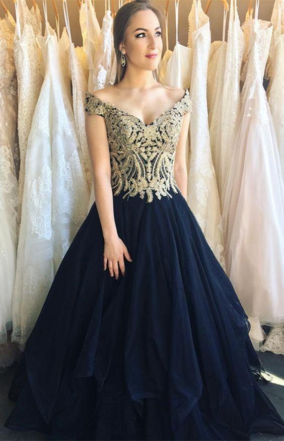 Formal Off The Shoulder Navy Blue Long Prom Dresses Simple Gold