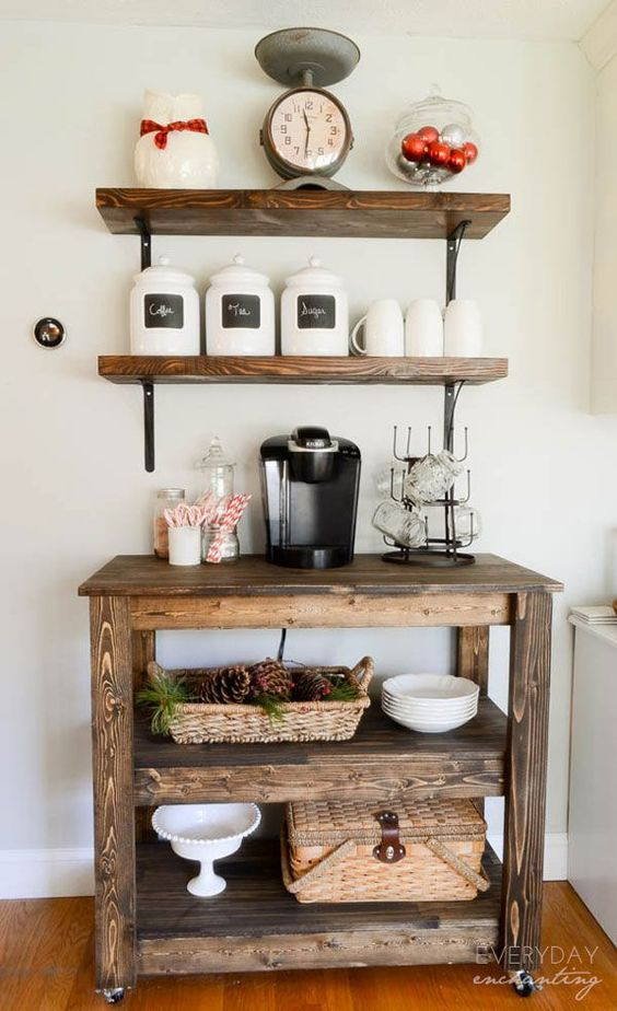 coffee bar ideas | If you're into rustic farmhouse, this coffee and tea bar makes a ...