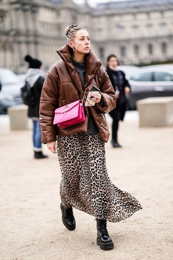 Haute Couture Fashion Week street style January 2019: brown puffer jacket with a leopard skirt and Dr Martens boots