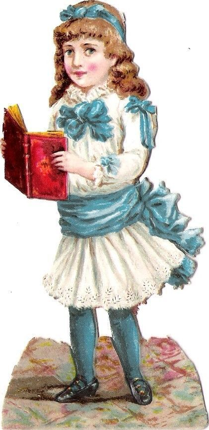 Oblaten Glanzbild scrap die cut chromo Kind child girl Buch book girl lady:
