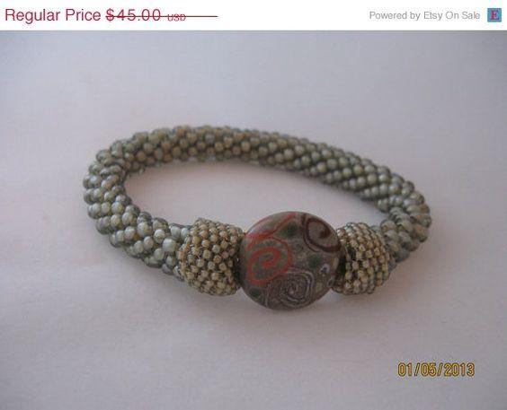 20 Off Bead Crochet Bangle Bracelet by GlitzandGlitter on Etsy, $36.00