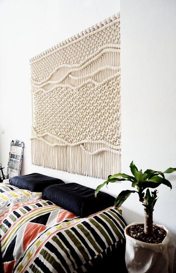 macram tentures murales and tentures on pinterest. Black Bedroom Furniture Sets. Home Design Ideas