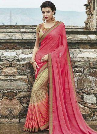 Beige Pink Patch Border Lace Work Georgette Printed Designer Half Sarees    #Wedding #Bridal #designer #Saree       http://www.angelnx.com/Sarees