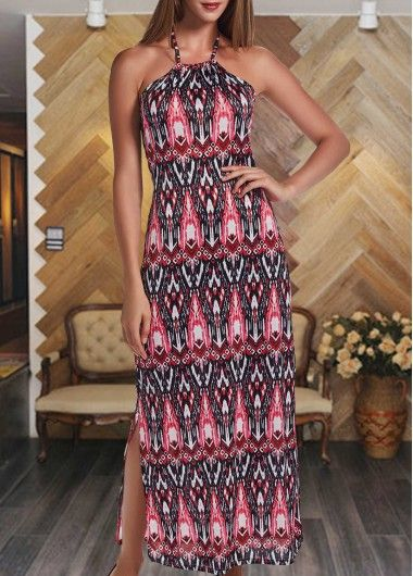 Printed Open Back Sleeveless Maxi Dress on sale only US$25.01 now, buy cheap…