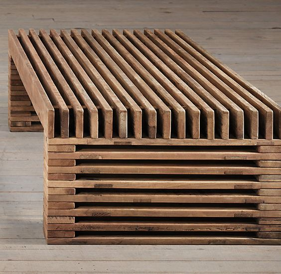 Reclaimed Timber Slat Coffee Table Restoration Hardware Wood Pinterest Pine Coffee