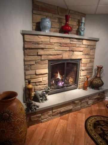 Traditional fireplace hearth and mantels on pinterest for Corner fireplace stone