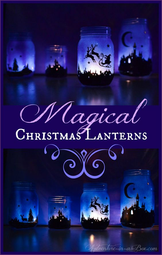Magical Christmas lanterns - spray painted then decorated with Christmas silhouettes!