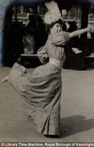 The photographer's friend Helene du Bois playing handball in a formal dress, Paris, June 4th 1906.