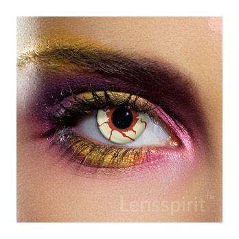 Blood Shoot - blutiges Auge (weiß rote Linse) - ideal für #Zombie oder #Monster #Kontaktlinsen