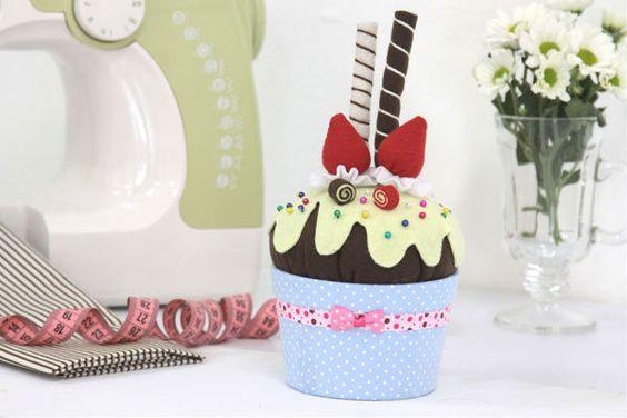 Agulheiro de cupcake: De Cupcake, Diy Tutorial, Cushion Agulheiro, Cupcake Puntaspilli, Format
