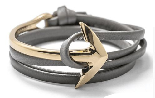 Gold Leather Anchor Men Halfbend Bracelet