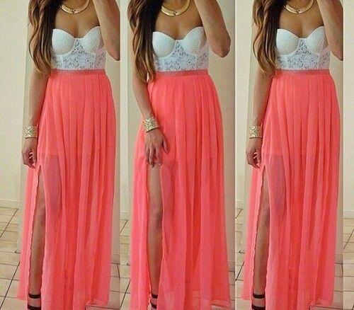 Long Coral Maxi Skirt | Jill Dress